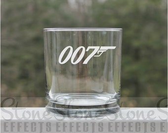 etched whiskey glass, whiskey glasses,  007, Whiskey  Glass,  scotch glass, engraved, 007,  Rock Glasses, James Bond, etched, custom