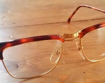 Gold & Tortoise Clubmaster Italian Glasses Deadstock