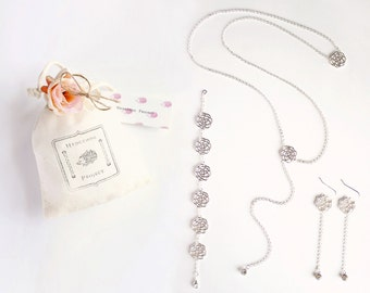 bride - Bridal Jewelry Set, Back Necklace, Back Drop, Silver Jewelry Set, Back Chain, Wedding