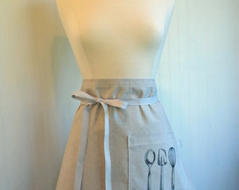Half Apron Canvas Women's Cafe Apron Baker's Gift Embroidered