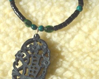 """Black Heishi, Green Stones, Chinese Symbol Pendant - 23"""" Necklace, Sterling Clasp N1 by Southwest Dreaming"""