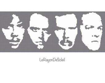 Metallica portrait cross stitch pattern silhouette.