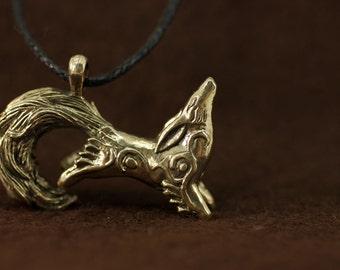 Kitsune Fox bronze pendant necklace