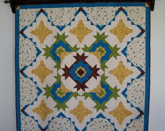 Blue yellow bird quilt - cobalt blue lime green sienna brown gold cream patchwork blanket - large throw - beige paisley - Mothers Day gift