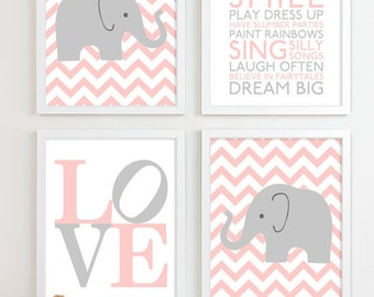 Baby Elephant Nursery Art, Safari Nursery Decor Baby Girl Gift for Girl Baby Shower Gift for Baby Girl Shower Gift Girl Baby Gifts