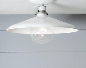 Industrial Ceiling Mount light - 14in White Metal Shade Lamp - Semi Flush Mount