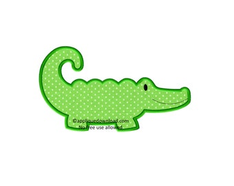 Alligator Embroidery Applique - Instant EMAIL With Download - for Embroidery Machines
