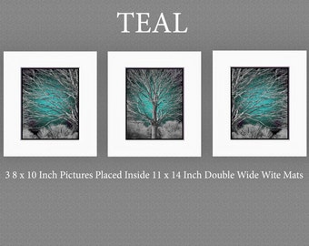 Exceptionnel Teal Wall Art Photography Tree Set Matted/Modern/Contemporary Bedroom Home  Decor Matted Picture