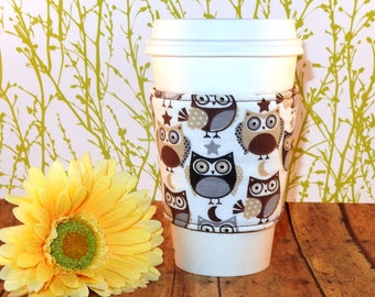 Fabric Coffee Cozy / Little Brown and Gray Owls Coffee Cozy / Owl Coffee Cozy / Coffee Cozy / Tea Cozy