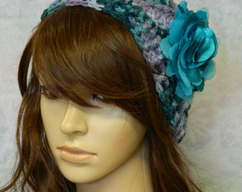 Hand Crocheted Beanie Hat with Flower Applique