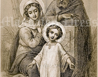 The Holy Family -- Small Vintage Print