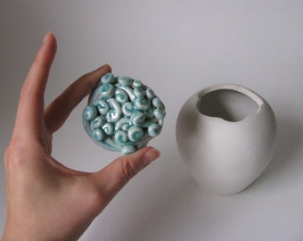 Porcelain white, green , blue swirl lidded jar/ ceramic container / lidded vessel by echo of nature, yumiko goto