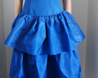 Vintage Electric Blue Dress Strapless Prom Dress Taffeta Ruffles Unworn With Label by Chic & Aktuell, Germany UK Size 6 US Size 2 EU 34