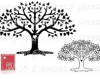 Heart Tree Heart shape Leaves Branche and Twigs Family Love Mom Wedding Tree of Life Digital Download Roots SVG DXF Jpeg PNG commercial use