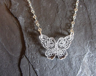 Butterfly Laser Engraved Necklace Sterling Silver Chain