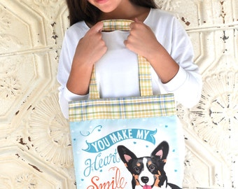 Corgi Art Tote Bag- You Make My Heart Smile