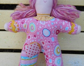 Hand made Pipsqueak Patchie rag doll Polly Pink