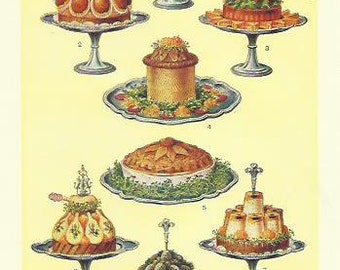 Cold Collation Dishes Game Pie Eggs 1910 Kitchen Print Decor Antique Cook Print Beeton Cookery Food print Wall Art Home Decor Vintage Print