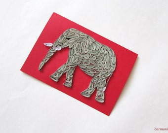 Quilling Elephant Card, Handmade Greeting Card With Quilled Elephant, Funny Blank Birthday Card, Baby Shower Card, Kid Card