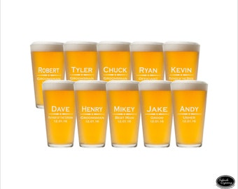 SHIPS FAST - 10 Customized Pint Glasses, Engraved Customized Pint Glasses Wedding Customized Pint Glasses, Groomsmen Customized Pint Glasses