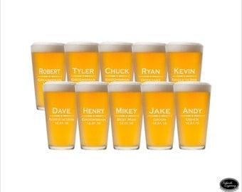TEN Customized Pint Glasses, SHIPS FAST, Engraved Customized Pint Glasses Wedding Customized Pint Glasses, Groomsmen Customized Pint Glasses