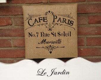 Burlap 'painting' Café Paris