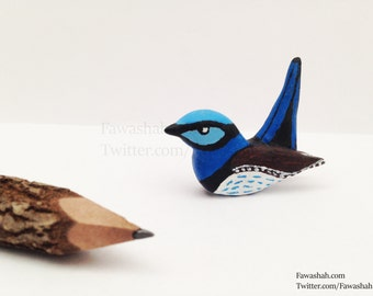 SALE - Bird Animal Totem Figurine, Blue Wren, Hand Painted, Animal Sculpture, Polymer Clay, Totem, OOAK, Art