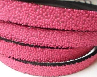Pre Cuts, No Joins, Fuchsia Pink Caviar Sparkle 10mm Flat Synthetic Leather,