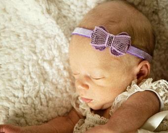 Lavender Baby Headband, Lavender Baby Bow, Sequin Bow Headband, Newborn Photo Prop, Baby Shower Gift, Teen Headband, Adult Headband, Newborn