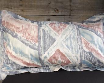 Vintage KING Pillow Sham Muted Blue Mauve Abstract Geometric Beachy Beach House Seaside Decor