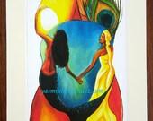 Yemaya y Ochun, small matted Art Print by Yasmin Hernandez Art