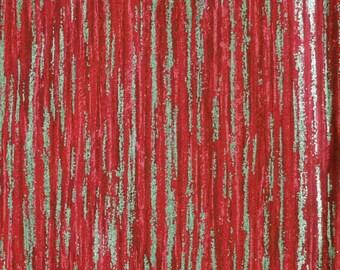 Red Christmas Print, Quilting Cotton Fabric, Shiny Gold Streaks, half yard, B26