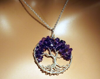Sterling Silver Amethyst Tree Of Life Necklace On Sterling Chain Wire Wrapped Pendant Semi Precious Gemstone Jewelry February Birthstone