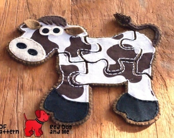 Cow 5 piece Jigsaw Puzzle Easy Hand Sewing PDF Toy Pattern Soft Felt Animal Toy