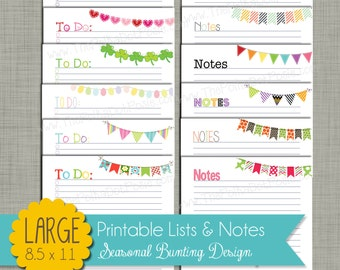 "Seasonal Bunting To-Do Lists & Notes {Printable} - Sized Large 8.5 x 11"" PDF"
