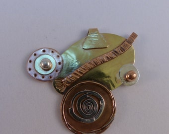 Monkey-face Pendant of Mixed-metal Applique and Inlay  ON SALE 20% OFF