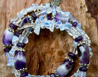 Amethyst Bracelet-Moonstone Bracelet-Cuff Bracelet-Purple Bracelet-Gemstone Bracelet-February Birthstone-Rainbow Moonstone-Reiki Jewelry