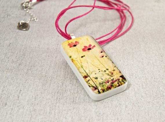Texas Widlflowers Domino Pendant Necklace