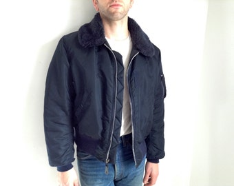Dark Blue Flight Jacket with Synthetic Mouton Fur Collar - Large
