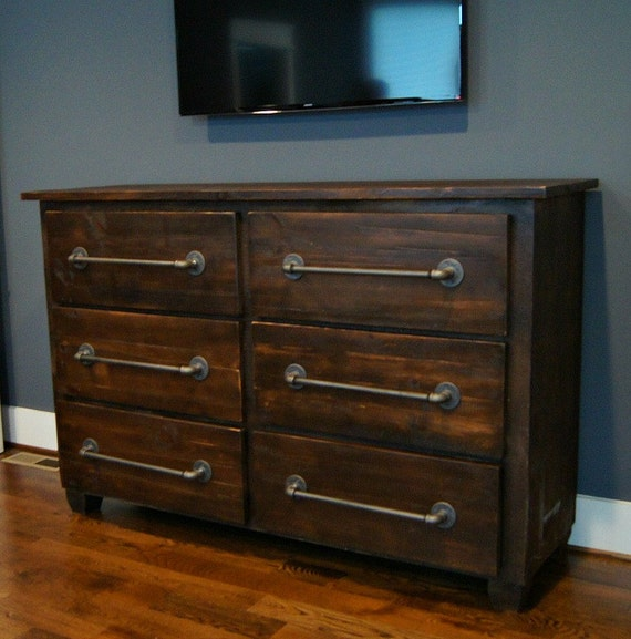 six drawer dresser with industrial pulls by theshopatrockcreek