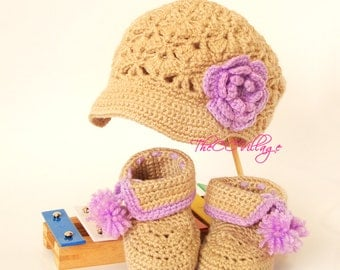 Crochet baby booties and hats set, Baby girl Shoes and hat flower in purple or brown, baby gift