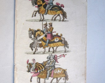 antique original engraving/ plate, knights, Verico inc. European costumes,