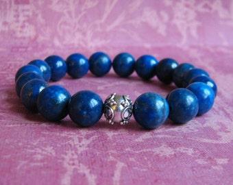 10mm Lapis Lazuli stretch bracelet with Sterling Silver Bali bead