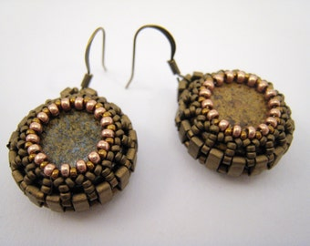 Beadwoven Bronzite Earrings, Beadwork, Round Bronzite Cabochons, Bronze Brown Dangle Earrings, Gemstones, Semi Precious Stone Jewelry