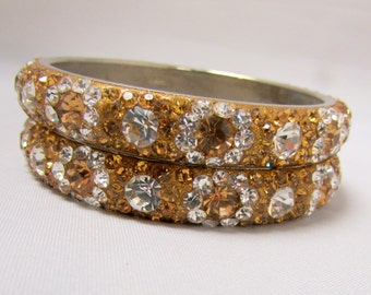 Golden and Clear Crystal Stone Bangle Set