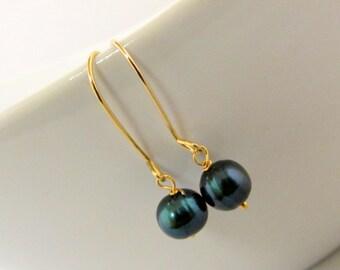 Black Freshwater Pearl Dangle Earrings on Gold Filled Ear-Wire