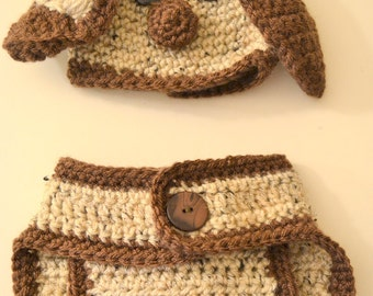Puppy Dog Hat with Floppy Ears Diaper Cover with Puppy Dog Tail Crocheted Newborn Photo Prop Made To Order