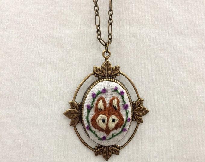 Fox - hand embroidered necklace, fox, woodland, vine, flowers, garden