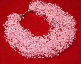 Girlfriend gift/for/girl bridal shower gift Bridesmaid Pink necklace multistrand jewelry bib necklace sakura wedding jewelry bridal choker
