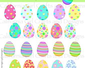 Easter Eggs Clipart Set - Instant Digital Download